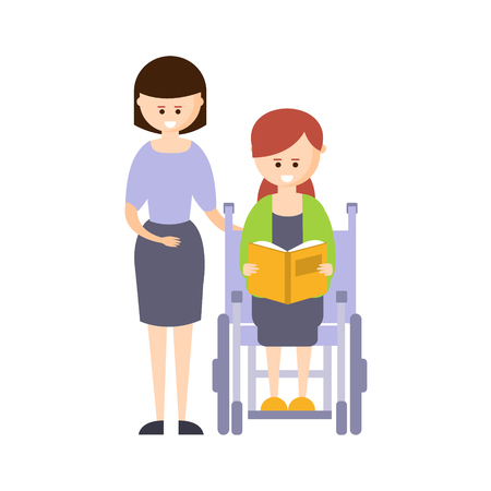 impaired: Physically Handicapped Person Living Full Happy Life With Disability Illustration With Smiling Girl In Wheelchair Reading Book. Disabled Cartoon Character With Physical Impairment Vector Drawing. Illustration