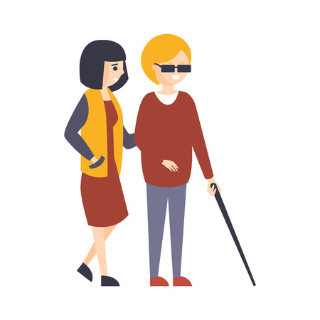 Physically Handicapped Person Living Full Happy Life With Disability Illustration With Smiling Blind Woman Walking With Friend. Disabled Cartoon Character With Physical Impairment Vector Drawing. Illustration