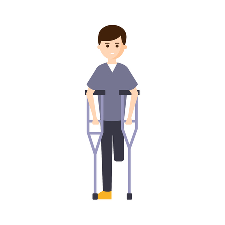 impairment: Physically Handicapped Person Living Full Happy Life With Disability Illustration With Smiling Man With Missing Leg. Disabled Cartoon Character With Physical Impairment Vector Drawing.