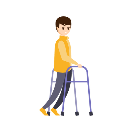 impairment: Physically Handicapped Person Living Full Happy Life With Disability Illustration With Smiling Man With Cerebral Paralysis. Disabled Cartoon Character With Physical Impairment Vector Drawing.