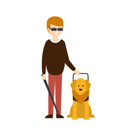 Physically Handicapped Person Living Full Happy Life With Disability Illustration With Smiling Blind Man And Guide Dog. Disabled Cartoon Character With Physical Impairment Vector Drawing.
