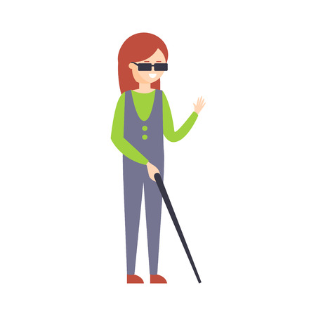 blind girl: Physically Handicapped Person Living Full Happy Life With Disability Illustration With Smiling Blnd Woman With Stick. Disabled Cartoon Character With Physical Impairment Vector Drawing.