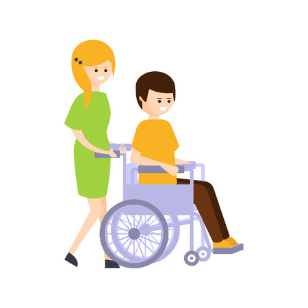 impaired: Physically Handicapped Person Living Full Happy Life With Disability Illustration With Smiling Girl Rolling A Guy In Wheelchair. Disabled Cartoon Character With Physical Impairment Vector Drawing.