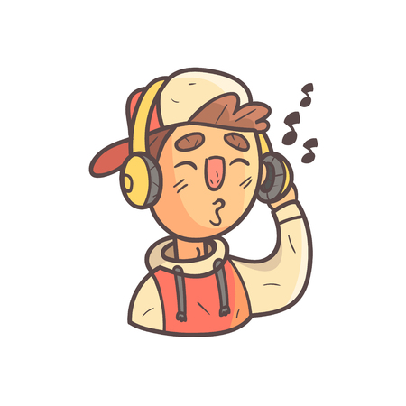 spacing: Listening To Music Boy In Cap And College Jacket Hand Drawn Emoji Cool Outlined Portrait. Part Of Funky Flat Vector Sticker Series With Teenager Different Emotional Facial Expressions In Comics Style. Illustration