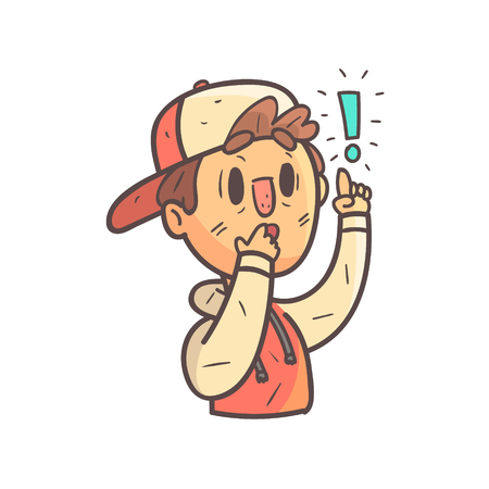 Remembering Something Important Boy In Cap And College Jacket Hand Drawn Emoji Cool Outlined Portrait. Part Of Funky Flat Vector Sticker Series With Teenager Different Emotional Facial Expressions In Comics Style.