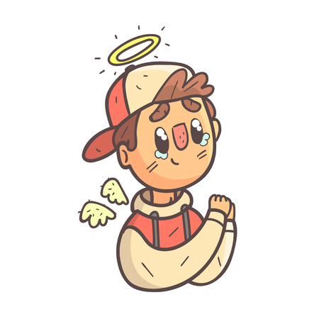 Angel Boy In Cap And College Jacket Hand Drawn Emoji Cool Outlined Portrait. Part Of Funky Flat Vector Sticker Series With Teenager Different Emotional Facial Expressions In Comics Style.