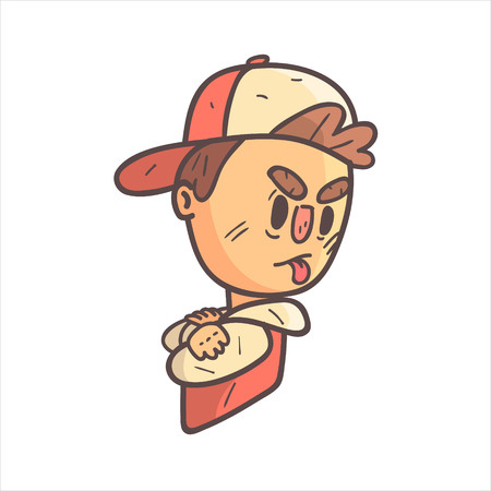 Sulking Boy In Cap And College Jacket Hand Drawn Emoji Cool Outlined Portrait. Part Of Funky Flat Vector Sticker Series With Teenager Different Emotional Facial Expressions In Comics Style. Illustration