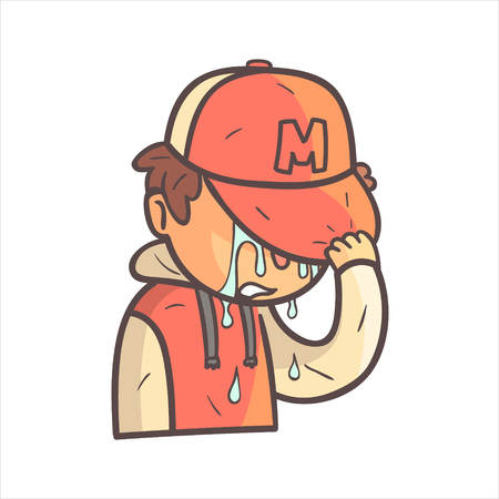 Crying Covering Face Boy In Cap And College Jacket Hand Drawn Emoji Cool Outlined Portrait. Part Of Funky Flat Vector Sticker Series With Teenager Different Emotional Facial Expressions In Comics Style.