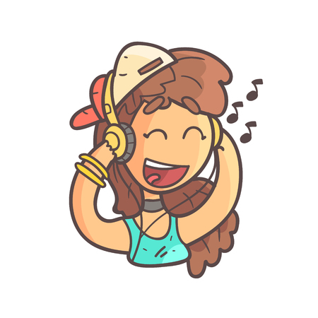 Girl In Cap, Choker And Blue Top Listening To Music Hand Drawn Emoji Cool Outlined Portrait. Part Of Funky Flat Vector Sticker Series With Teenager Different Emotional Facial Expressions In Comics Style. Illustration