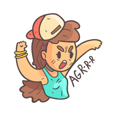 Aggressive Girl In Cap, Choker And Blue Top Hand Drawn Emoji Cool Outlined Portrait. Part Of Funky Flat Vector Sticker Series With Teenager Different Emotional Facial Expressions In Comics Style.