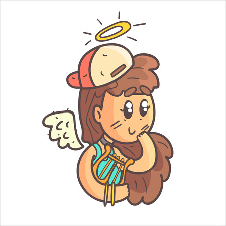 choker: Angel Girl In Cap, Choker And Blue Top Hand Drawn Emoji Cool Outlined Portrait. Part Of Funky Flat Vector Sticker Series With Teenager Different Emotional Facial Expressions In Comics Style. Illustration