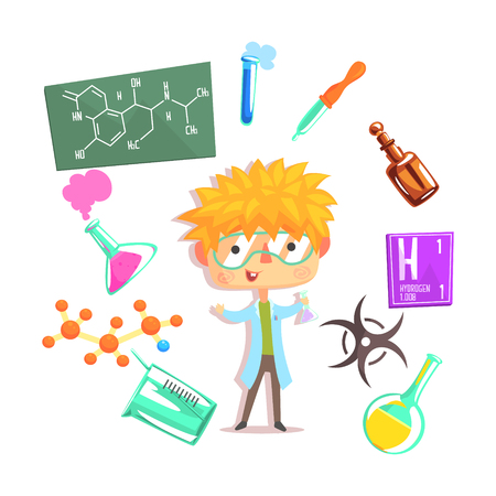 theoretical: Boy Chemist, Kids Future Dream Professional Occupation Illustration With Related To Profession Objects. Smiling Child Carton Character With Career Attributes Around Cute Vector Drawing.