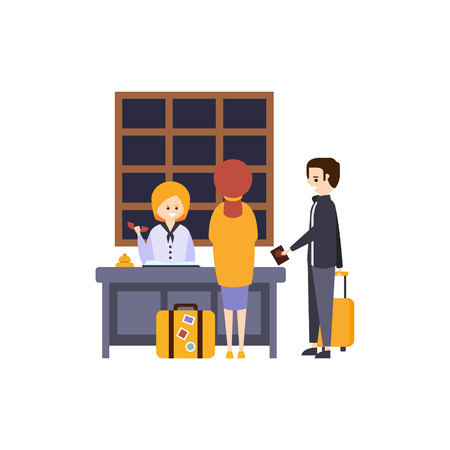 checking: People At The Reception Desk Checking In Hotel Themed Primitive Cartoon Illustration. Part Of Inn Clients And Employees Collection Of Situations Vector Flat Drawings. Illustration