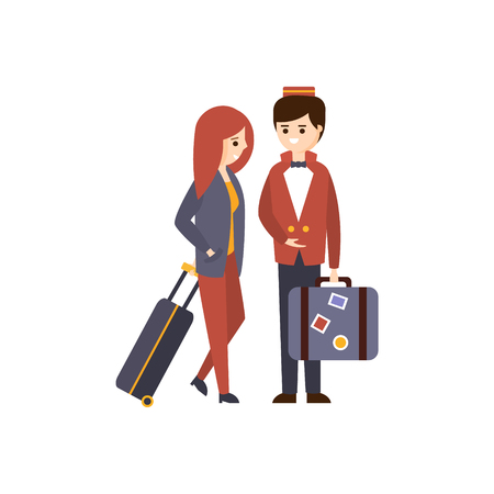 guest: Bellhop Helping A Female Guest With Luggage Hotel Themed Primitive Cartoon Illustration. Part Of Inn Clients And Employees Collection Of Situations Vector Flat Drawings. Illustration
