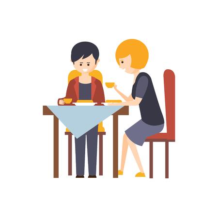 Dos huéspedes que almuerzan en restaurante Hotel temático de dibujos animados de ilustración primitivo. Parte de los clientes y empleados Inn conjunto de situaciones Vector Dibujos planas. Vectores