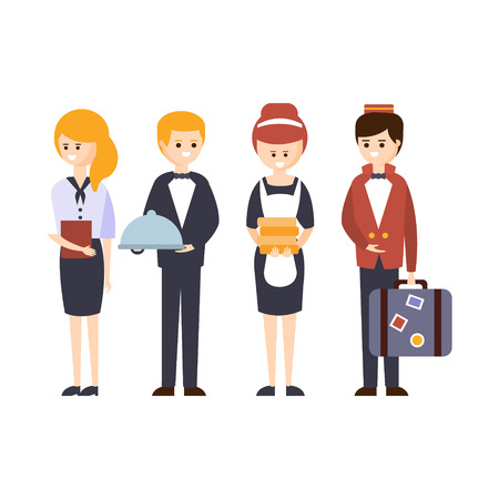 hotel staff: Hotel Staff, Waiter, Bellhop, Administrator And Maid Hotel Themed Primitive Cartoon Illustration. Part Of Inn Clients And Employees Collection Of Situations Vector Flat Drawings. Illustration