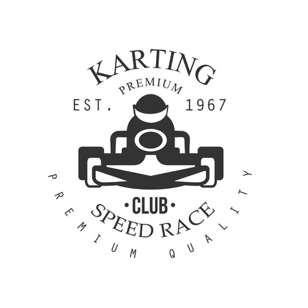 karting: Premium Quality Karting Club Black And White  Design Template With Rider In Kart Silhouette. Monochrome Vector Promo Emblem With Text And Fast Car Print.
