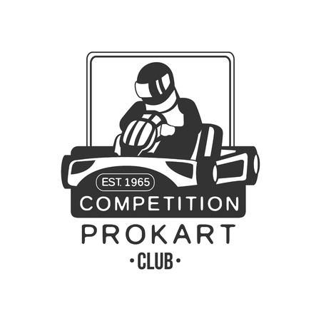 karting: Karting Club  Competition Black And White   Design Template With Rider In Kart Silhouette. Monochrome Vector Promo Emblem With Text And Fast Car Print.