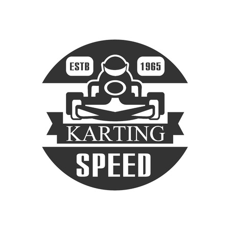 karting: Karting Club Speed Racing Black And White  Design Template With Rider In Kart Silhouette. Monochrome Vector Promo Emblem With Text And Fast Car Print.
