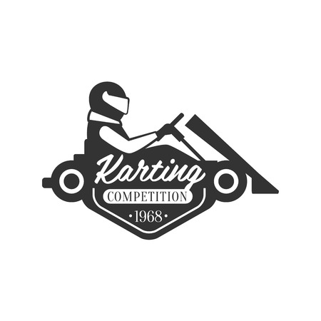 karting: Karting Club Event Promo Black And White Design Template With Rider In Kart Silhouette. Monochrome Vector Promo Emblem With Text And Fast Car Print.