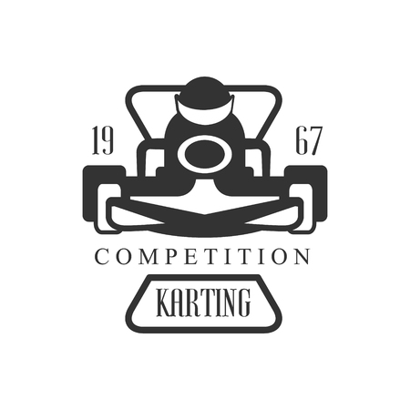kart: Karting Club Racing Competition Black And White   Design Template With Rider In Kart Silhouette. Monochrome Vector Promo Emblem With Text And Fast Car Print.