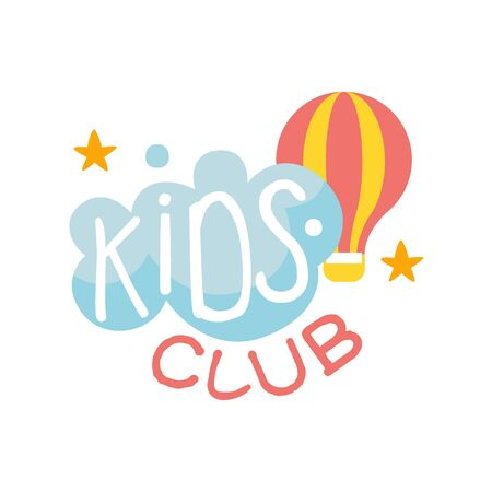 Kids Land Playground And Entertainment Club Colorful Promo Sign With Cloud And Hot Air Balloon For The Playing Space For Children. Vector Template Promotional  For The Entertaining Family Center. Illustration