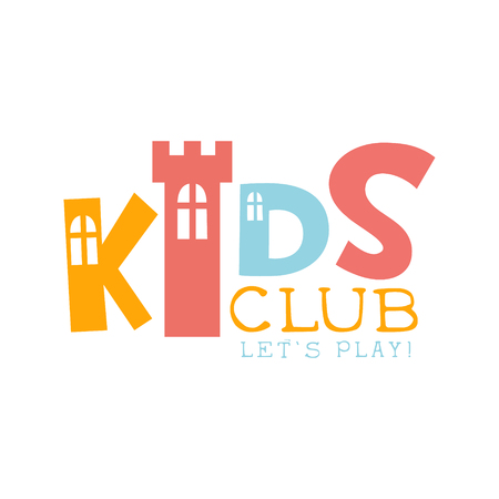 entertainment center: Kids Land Playground And Entertainment Club Colorful Promo Sign With Toy Castle For The Playing Space For Children. Vector Template Promotional   For The Entertaining Family Center.