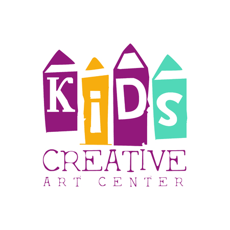 Kids Creative Class Template Promotional   With Pencils Symbols Of Art and Creativity. Children Artistic Development Center Colorful Promo Advertisement Sign With Text. Illustration