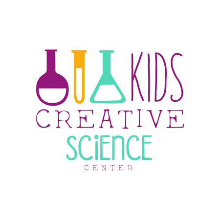 science class: Kids Creative Class Template Promotional   With Test Tubes Symbols Of Science and Creativity. Children Artistic Development Center Colorful Promo Advertisement Sign With Text.