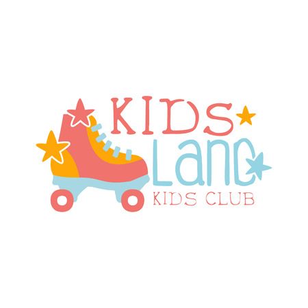 Roller-Skating Kids Land Playground And Entertainment Club Colorful Promo Sign For The Playing Space For Children. Vector Template Promotional For The Entertaining Family Center.