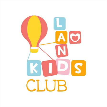 air baloon: Kids Land Playground And Entertainment Club Colorful Promo Sign With Toy Hot Air Baloon For The Playing Space For Children. Vector Template Promotional   For The Entertaining Family Center. Illustration