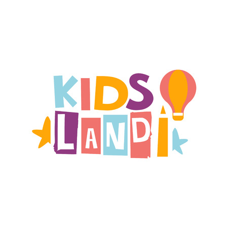 Kids Land Playground And Entertainment Club Colorful Promo Sign For The Playing Space For Children. Vector Template Promotional For The Entertaining Family Center.