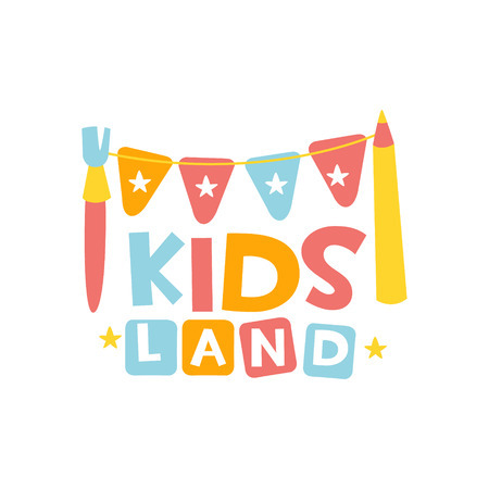 Kids Land Playground And Entertainment Club Colorful Promo Sign With Garland And Pencil For The Playing Space For Children. Vector Template Promotional  For The Entertaining Family Center.