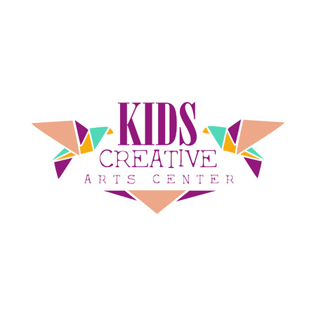 two birds: Kids Creative Class Template Promotional Logo With Origami Pigeons, Symbols Of Art and Creativity. Children Artistic Development Center Colorful Promo Advertisement Sign With Text.