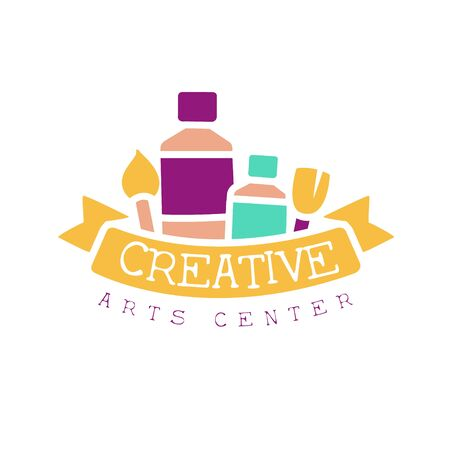 Kids Creative Class Template Promotional Logo With Ribbon And Symbols Of Art and Creativity. Children Artistic Development Center Colorful Promo Advertisement Sign With Text.