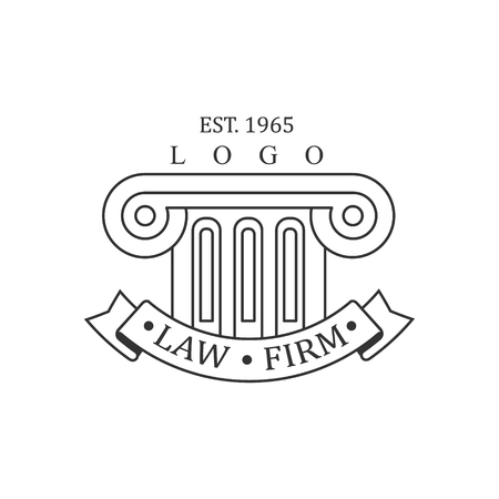 ionic: Law Firm And Lawyer Office Black And White Logo Template With Ionic Pillar Justice Symbol Silhouette. Vector Monochrome Emblem For Premium Class Business Service.