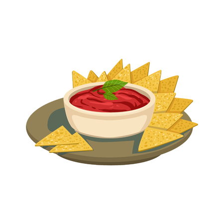 chips and salsa: Nachos Chips With Tomato Salsa Traditional Mexican Cuisine Dish Food Item From Cafe Menu Vector Illustration. Part Of Collection Of National Meal From Mexico Vector Cartoon Illustrations.