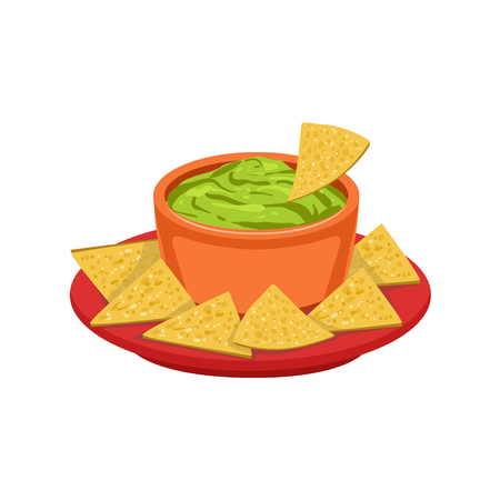 dipping: Nachos Chips With Guacamole Traditional Mexican Cuisine Dish Food Item From Cafe Menu Vector Illustration. Part Of Collection Of National Meal From Mexico Vector Cartoon Illustrations.