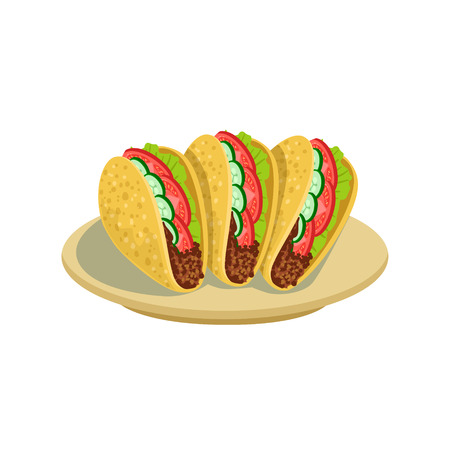 Tacos Traditional Mexican Cuisine Dish Food Item From Cafe Menu Vector Illustration. Part Of Collection Of National Meal From Mexico Vector Cartoon Illustrations. Illustration