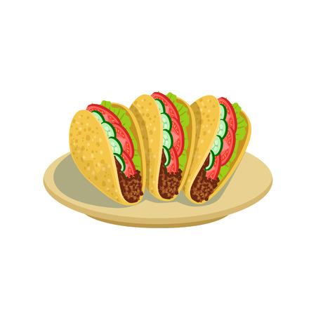 Tacos traditionnel cuisine mexicaine plat alimentaire élément de Cafe Menu Vector Illustration. Partie de la collection de repas national du Mexique Illustrations de vecteur de dessin animé.