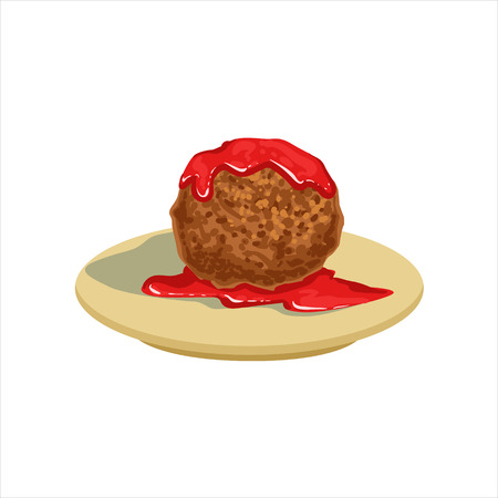 Gian Meatball With Tomato Salsa Traditional Mexican Cuisine Dish Food Item From Cafe Menu Vector Illustration. Part Of Collection Of National Meal From Mexico Vector Cartoon Illustrations. Иллюстрация