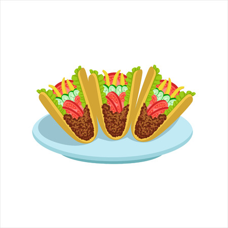 Crispy Taco Traditional Mexican Cuisine Dish Food Item From Cafe Menu Vector Illustration. Part Of Collection Of National Meal From Mexico Vector Cartoon Illustrations. Illustration