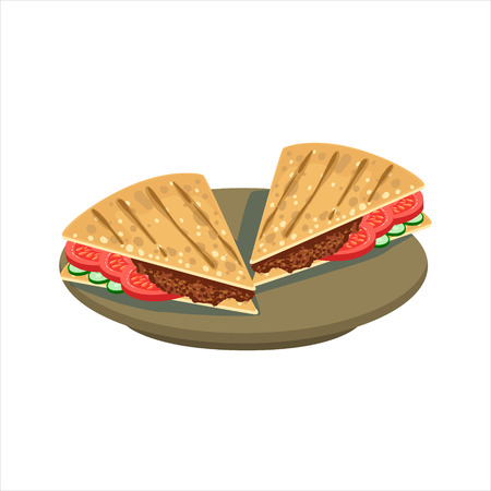 food dish: Meat Sandwich In Pita Bread Traditional Mexican Cuisine Dish Food Item From Cafe Menu Vector Illustration. Part Of Collection Of National Meal From Mexico Vector Cartoon Illustrations. Illustration