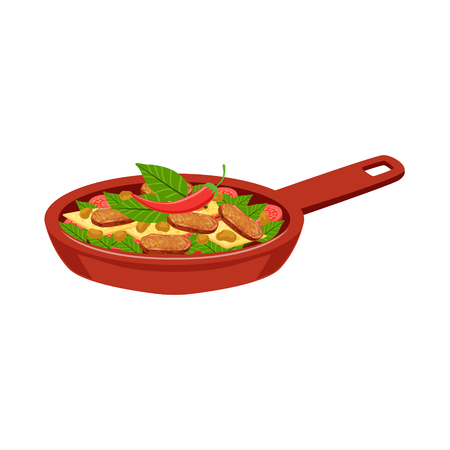 Fried Meat With Vegetables Traditional Mexican Cuisine Dish Food Item From Cafe Menu Vector Illustration. Part Of Collection Of National Meal From Mexico Vector Cartoon Illustrations.