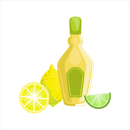 Tequila Bottle Traditional Mexican Cuisine Dish Drink Item From Cafe Menu Vector Illustration. Part Of Collection Of National Meal From Mexico Vector Cartoon Illustrations.