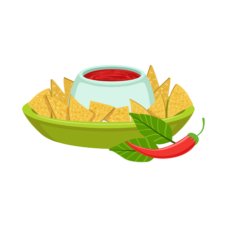 NAchos With Spicy Dip Traditional Mexican Cuisine Dish Food Item From Cafe Menu Vector Illustration. Part Of Collection Of National Meal From Mexico Vector Cartoon Illustrations. Illustration