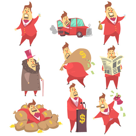 millionaire: Millionaire Rich Man Funny Cartoon Character And His Money Set Of Lifestyle Situations. Multimillionaire Businessman With Cigar In Red Jacket Activities Vector Illustrations.