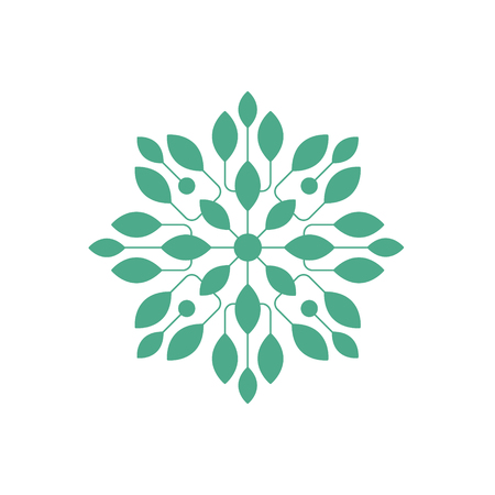 Regular Shape Doodle Ornamental Figure In In Green Color With Plant Leaves Decorative Element. Geometric Repetitive Vector Patten Design For Mosaic Motive Creation. Illustration