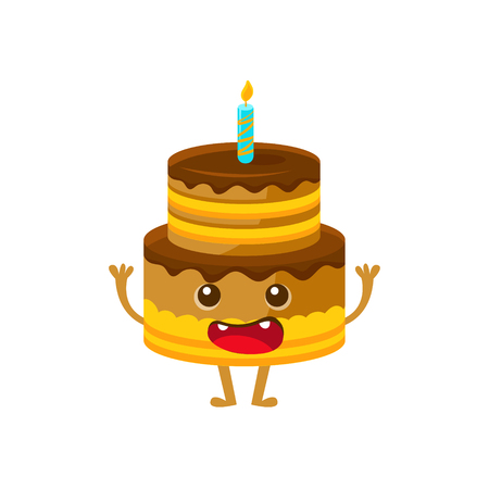 Chocolate Birthday Cake With Candle, Happy Birthday And Celebration Party Symbol Cartoon Character. Colorful Humanized Birthday Party Associated Element With Arms And Legs. Illustration