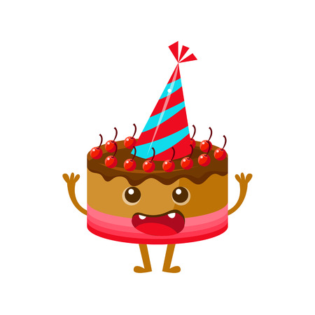 Chocolate And Cherry Birthday Cake In Party Hat, Happy Birthday And Celebration Party Symbol Cartoon Character. Colorful Humanized Birthday Party Associated Element With Arms And Legs. Illustration